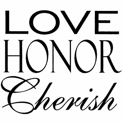 Honor, Cherish — Small Wood Mounted Stamp by Classic Stampington & Company