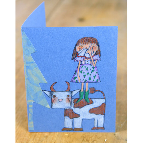 Crying Girl and Cow Card Project by Marylinn Kelly