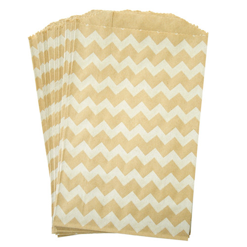 White on Kraft Chevron Middy Bitty Bags