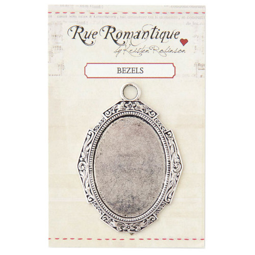 Rue Romantique Solid Frame with Large Oval Bezel — Silver Tone