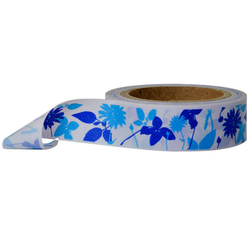 Washi Tape — Flowers White and Blue