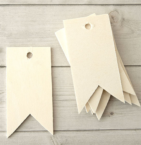 Wood Tags — Pennant Ribbon
