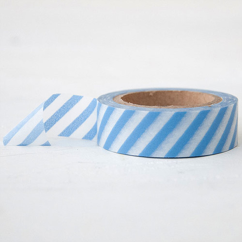 Washi Tape — Diagonal Stripe White and Vista Blue