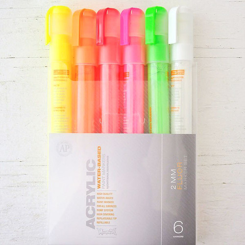 Montana Acrylic Paint Marker 2mm Set of 6 — Fluorescent