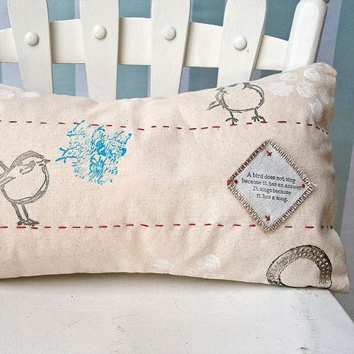 Bye Bye Birdie Mixed-Media Pillow Project