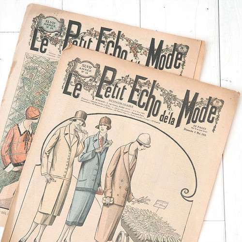 French Flea Market Le Petit Echo de la Mode Two Pages Paper Bundle