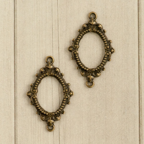 Rue Romantique Small Open Scroll Oval Bezels — Brass Tone
