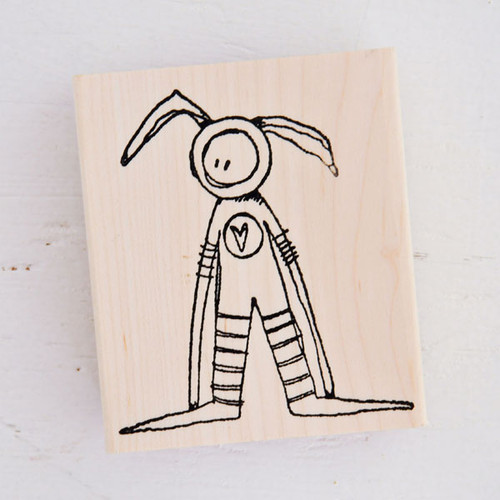 Stampotique Wood Mounted Rubber Stamp — Bunny Boy by Kate Crane
