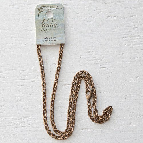Vintaj Natural Brass Co. Petite Etched Cable Chain Necklace