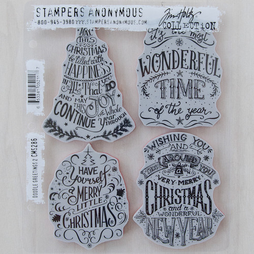 Stampers Anonymous Tim Holtz Cling Mount Stamp Set — Christmas Doodle #2