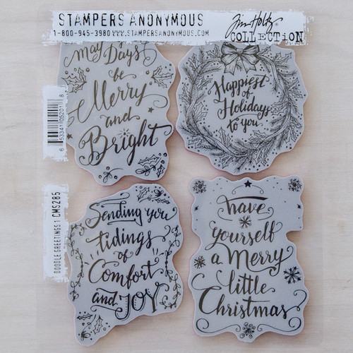 Stampers Anonymous Tim Holtz Cling Mount Stamp — Christmas Doodle #1