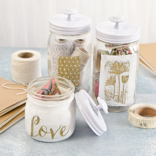 Get Organized: White and Gold Embossed Jars