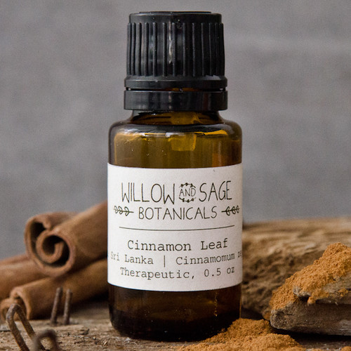 Cinnamon Leaf Essential Oil by Willow and Sage Botanicals, 0.5 oz.