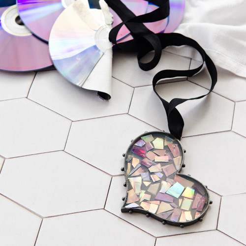 Punk Rock CD Mosaic Heart Bezel