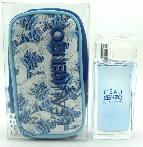 L'eau Kenzo Pour Homme Cologne by Kenzo 1.7 oz.EDT Spray with Pouch in Clear Box