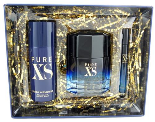 PURE XS by Paco Rabanne for Him 3.4oz.EDT + 5.1oz Deo + 0.34oz Travel Spray. New Set