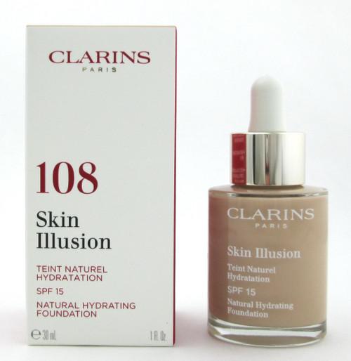 Clarins Skin Illusion Natural Hydrating Foundation SPF 15 # 108 Sand 1 oz. New