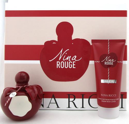 Nina ROUGE by Nina Ricci 2.7 oz.EDT Spray + 3.4 oz.Creamy Body Lotion. New Set.
