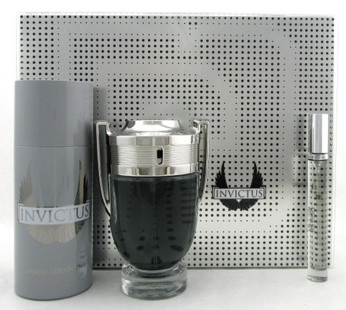 Invictus by Paco Rabanne 3.4 oz. & 10 ml. EDT Spray + 5.1 oz. Deo Spray. New SET