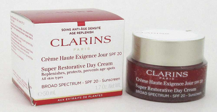 Clarins Super Restorative Day Cream, Replenishes, Protects, Prevents Age Spots, Broad Spectrum SPF 20 Sunscreen All Skin Types 1.7 oz./ 50 ml. Damaged Box