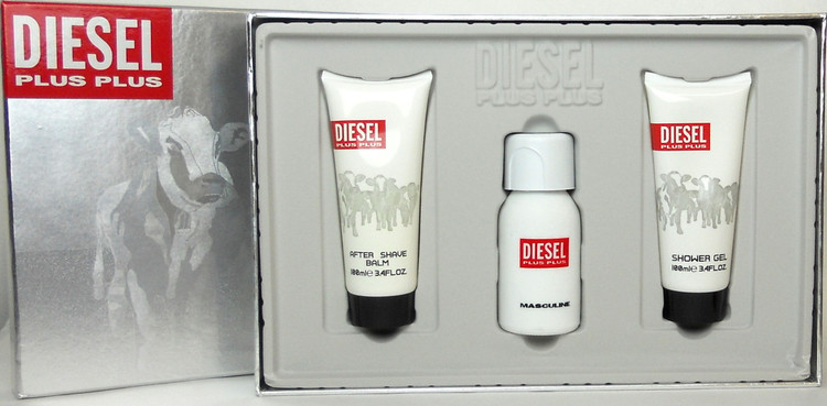 Diesel Plus Plus Masculine 2.5 oz./75 ml.EDT Spray + 3.4 oz./100 ml.Shower Gel+ 3.4 oz./100 ml.After Shave Balm. New set for Men.