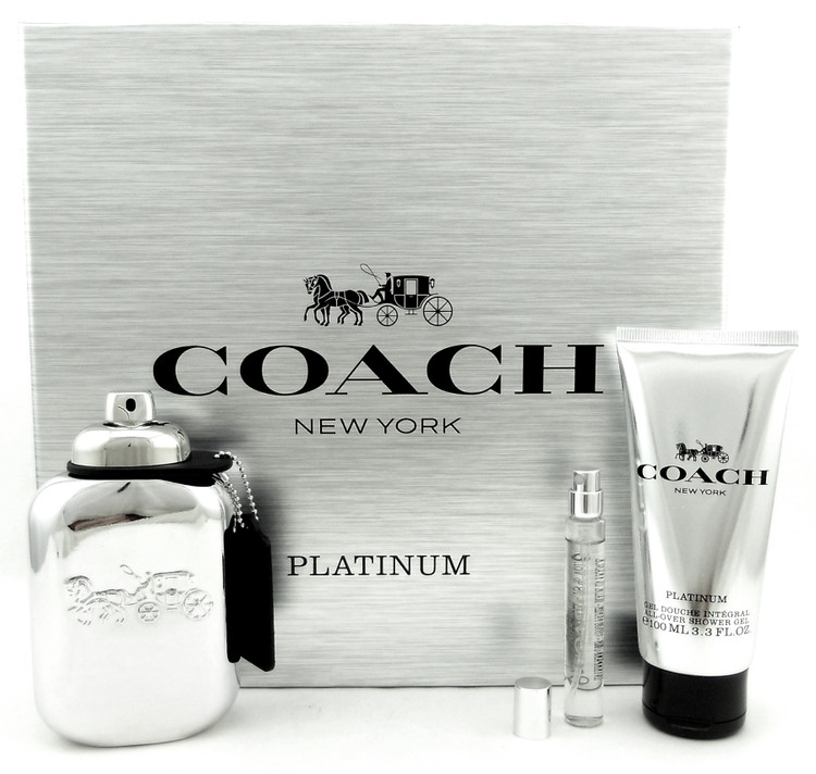 Coach Platinum for Men 3.3oz.EDP+7.5ml Spray+3.3oz.S/Gel. New Set