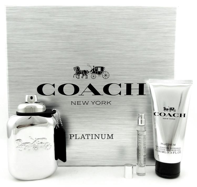 Coach Platinum for Men 3.3oz.EDP+7.5ml Spray+3.3oz.S/Gel. New Set
