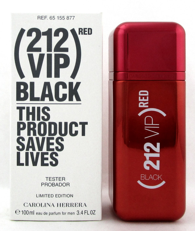 212 VIP BLACK RED Edition by Carolina Herrera 3.4 oz. EDP Spray Men. New Tester