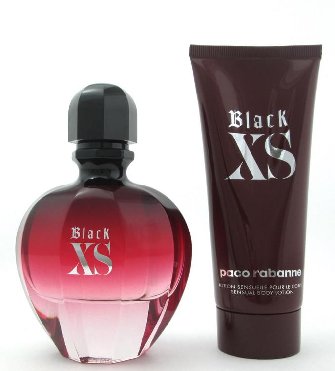 Black XS Perfume (2018) by Paco Rabanne Set 2.7 oz. EDP Spray+Body Lotion Women
