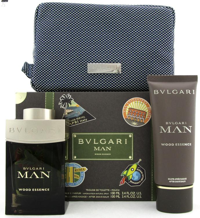 Bvlgari Man WOOD ESSENCE 3.4oz EDP Spray + 3.4oz A/Shave Balm + Pouch. Men's SET