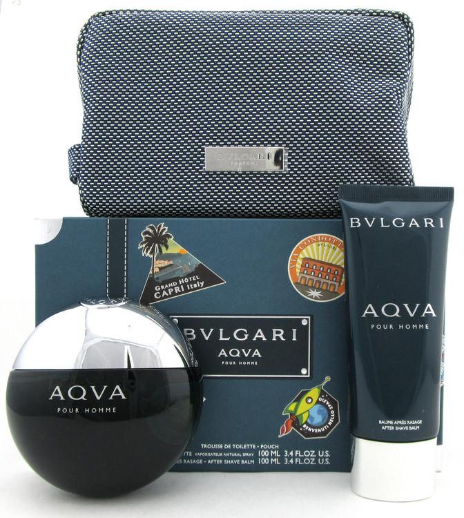 Bvlgari Aqva Pour Homme  3.4 oz.EDT Spray + 3.4 oz.A/Shave Balm + Pouch. Men's Set
