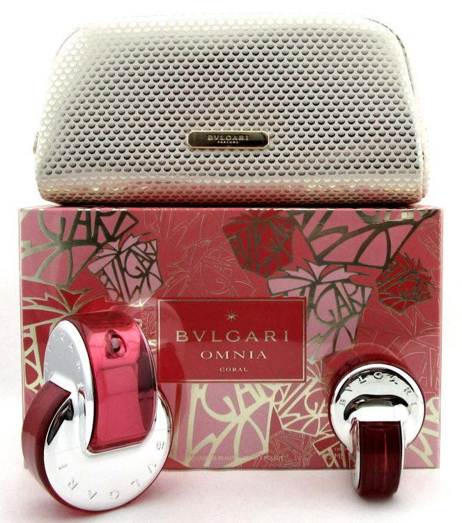 Bvlgari OMNIA CORAL 2.2 oz & 15 ml Eau de Toilette Spray + Pouch.New Women's Set