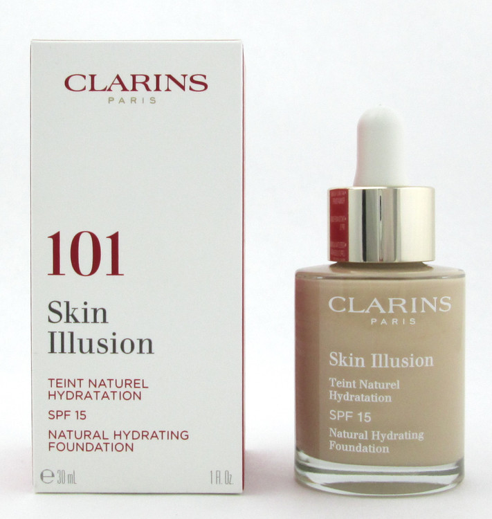 Clarins Skin Illusion Natural Hydrating Foundation SPF 15 # 101 Linen 1 oz. New