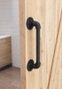 "15"" Black Pipe Barn Door Pull Installed"