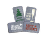 Each pack will include 6 cards (in four variations) of our metal Christmas cards in assorted colors.