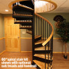 "60"" code complaint spiral stair kit shown with OPTIONAL WOOD TREADS AND WOOD HANDRAIL - NOT included in this kit"
