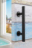 """12"""" Round Industrial Heavy Duty Pull and Flush Door Handle Combo Set installed"""