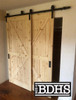 Single Track Double Door By-passing Sliding barn Door Hardware System -  shown with two Raw Pine British Brace Doors  (sold separately)