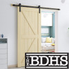 British Brace Knotty Pine Barn Door - Unassembled Door Kit