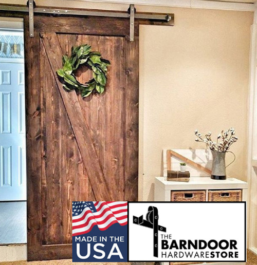 Z Brace Barn Door with standard hangers in raw steel - pine with medium stain (we can stain for $195 extra - call to order please) - Made in USA