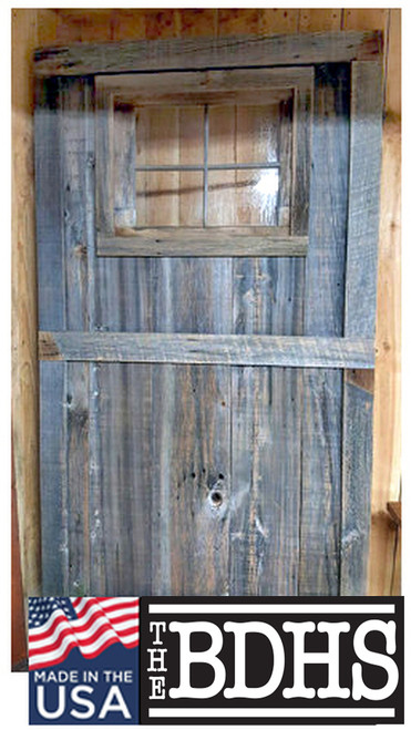 Reclaimed Barn Wood Door with Window - The Kane - Fully Assembled