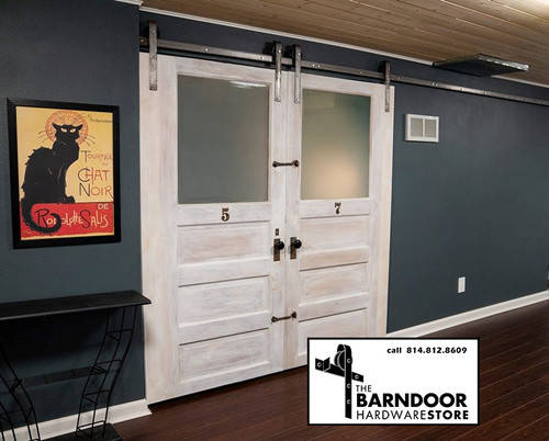 Double Door Barn Door Hardware Kit with long track length
