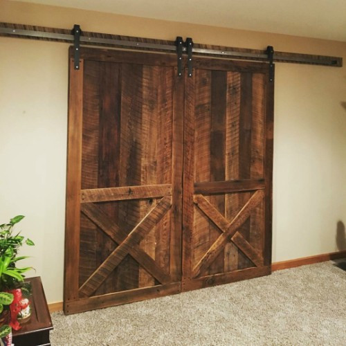 Double Reclaimed Barn Doors with 12' Sliding Barn Door Hardware Kit.