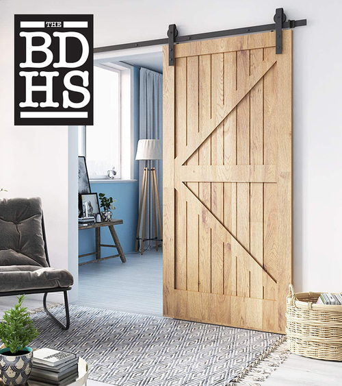 "BLACK SLIDING BARN DOOR HARDWARE KIT WITH 78"" TRACK"