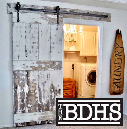 Martha's Vineyard Distressed Barn Door with Black Arrow Hardware Kit