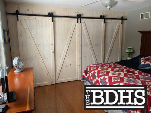 4 Door Single Track Bypass Kit - Pine Doors