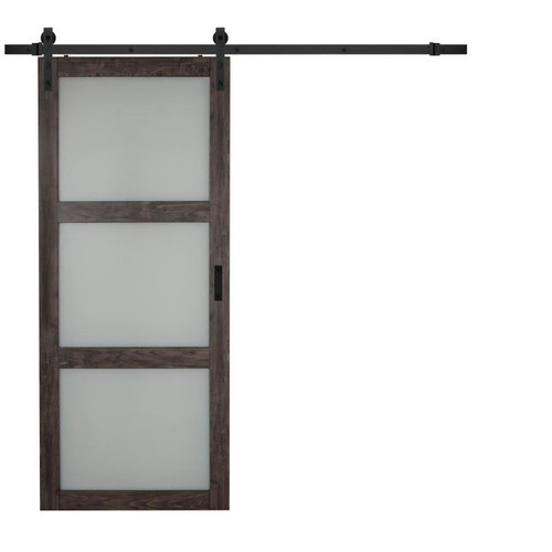 3 panel Frosted Glass Barn Door with FREE hardware kit included - FREE SHIPPING