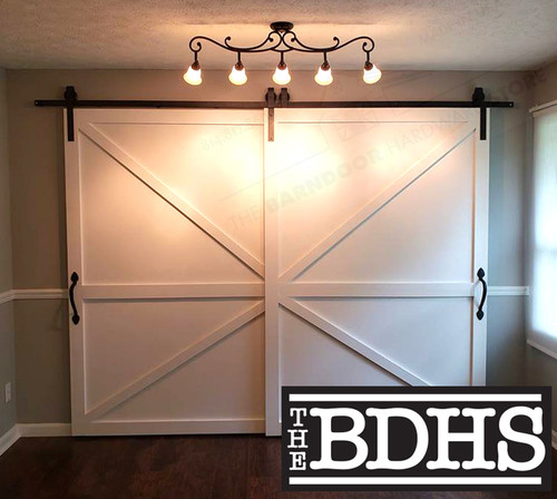Double Door Single Track By-pass© Sliding barn Door Hardware System -  shown with two British Brace Doors Distressed & Whitewashed Finish - all doors sold separately