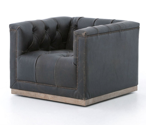 The Club Swivel Chair - Black Distressed Leather Chair - FREE SHIPPING