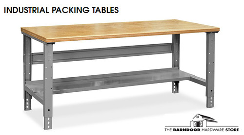 "Industrial Packing Table - 96' x 30"", Maple Top with Rounded Edge"